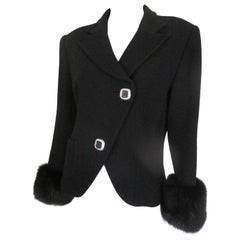 Gai Mattiolo couture black wool jacket trimmed with fox fur