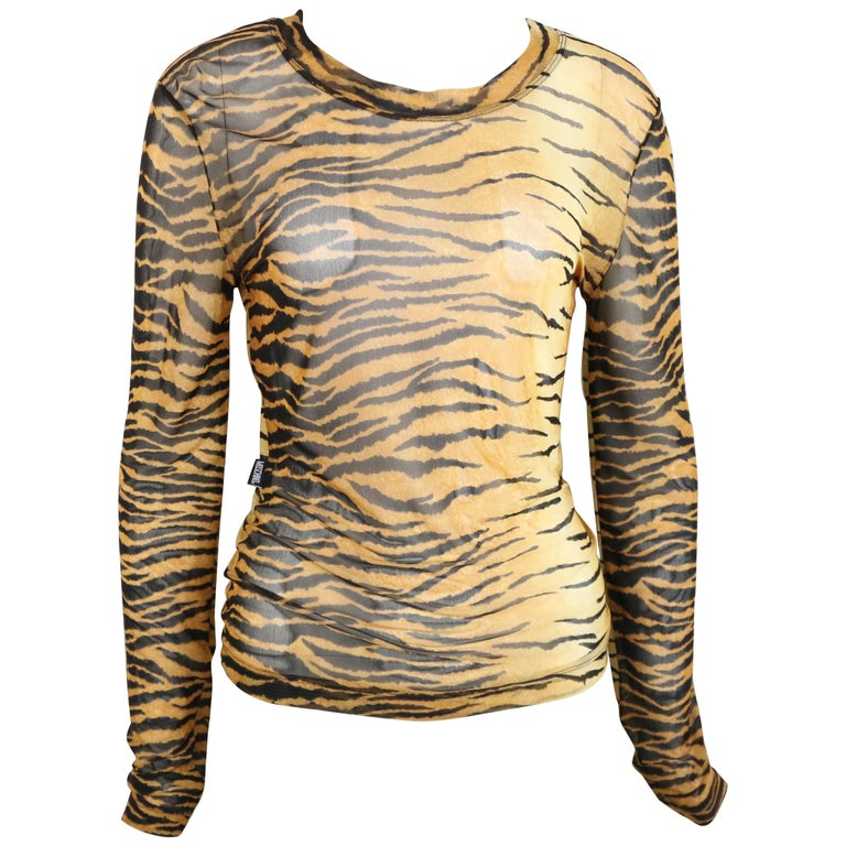 Moschino Jeans Leopard Pattern Nylon See-Through Long Sleeves Top For Sale