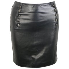 "Gianni Versace Black Lambskin Leather ""Medusa"" Pencil Skirt"