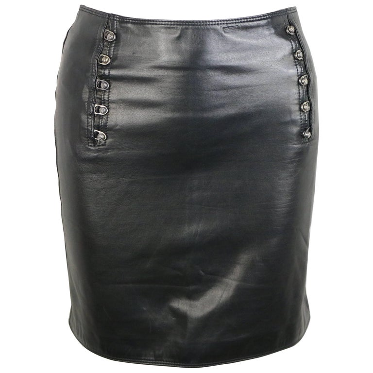 "Gianni Versace Black Lambskin Leather ""Medusa"" Pencil Skirt"