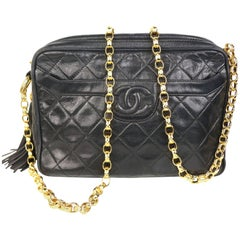 Chanel Black Quilted Lambskin Tassel with Gold Toned Chain Shoulder Bag