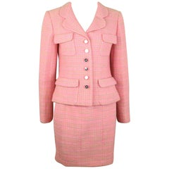 Chanel Multi Coloured Pink Tweed Jacket and Skirt Ensemble