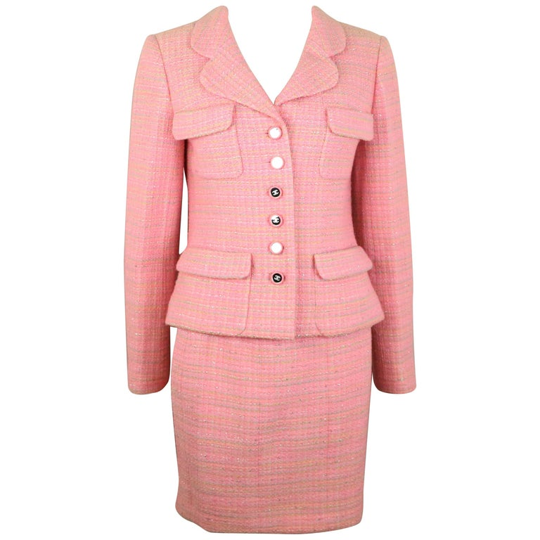 Chanel Multi Coloured Pink Tweed Jacket and Skirt Ensemble  For Sale