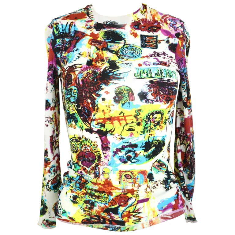 Jean Paul Gaultier Jeans Colourful Print White Long Sleeves T-Shirt  For Sale