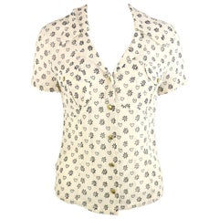Moschino Jeans White Short Sleeves Shirt with Black Sunflower and Heart Prints