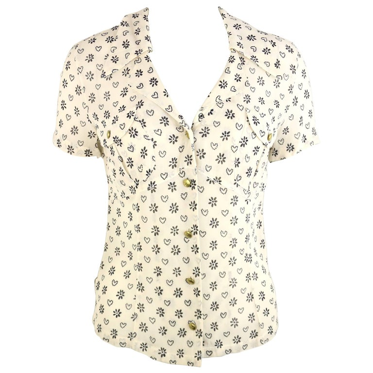 Moschino Jeans White Short Sleeves Shirt with Black Sunflower and Heart Prints For Sale