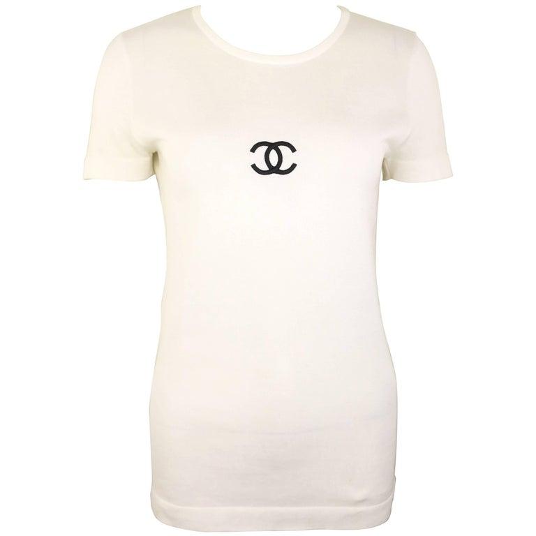 """Chanel White Cotton """"CC"""" T Shirt"""