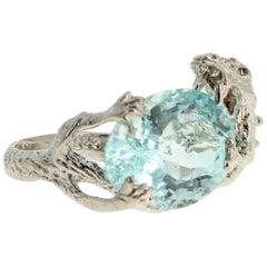 7.8 Carat Aquamarine Sterling Silver Ring