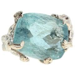 Aquamarine Dragon Sterling Silver Ring