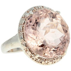 Unique Handmade 10.6 Carat Morganite Sterling Silver Ring