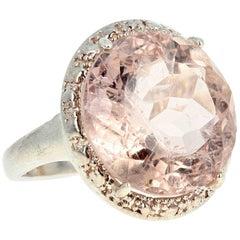 10.6 Carat Morganite Sterling Silver Ring