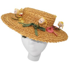 Whimsical C.1950 Italian Straw Boater Hat