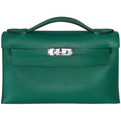 Hermes Bag Kelly Mini Pochette Vert Vertigo Evercolor Palladium Hardware