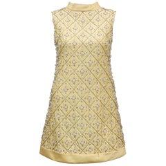 1960's Gino Charles Yellow Dupioni Silk Beaded Mini Dress