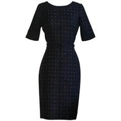 Oscar de la Renta Navy Blue Tweed Front Belted Dress with Metallic Accents