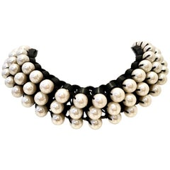 21st Century Leather & Faux Pearl Choker Style Necklace By, Lee Angel