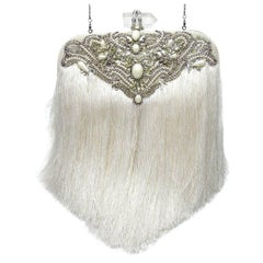Couture Marchesa Lily Embroidered and Embellished White Fringed Beaded Clutch
