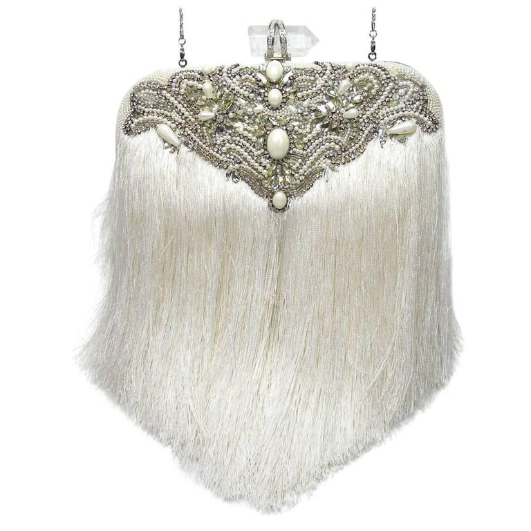 Couture Marchesa Lily Embroidered and Embellished White Fringed Beaded Clutch For Sale