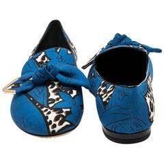 LOUSI VUITTON 'Richelieu' Ballerina Shoes in Blue and Leopard Pattern Fabric 39