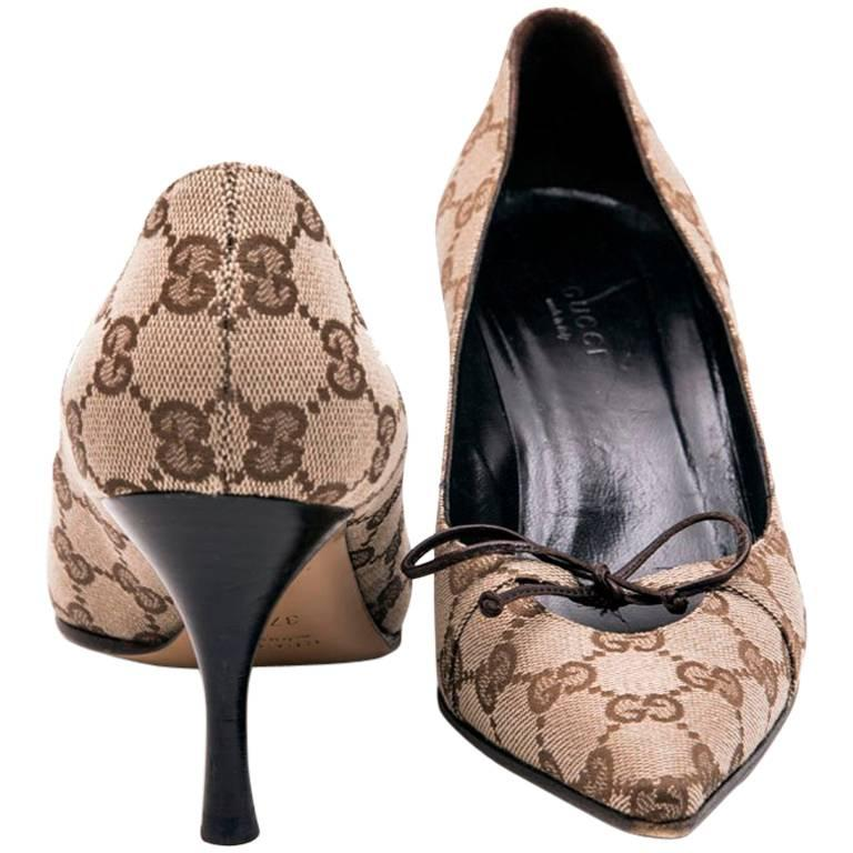 d93546fa4eb0 GUCCI High Heels Size 37FR in Brown Monogram Pattern Canvas at 1stdibs