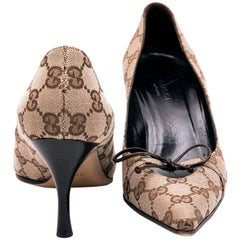 GUCCI High Heels Size 37FR in Brown Monogram Pattern Canvas