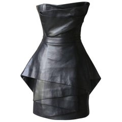 Balmain Strapless Asymmetrical Leather Dress