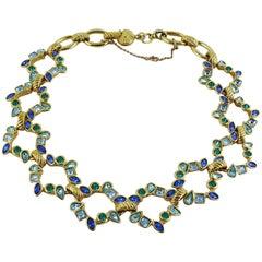 Yves Saint Laurent YSL Vintage Blue Shade Necklace
