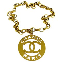 Chanel Vintage Iconic Gold Toned Cutout Openwork Logo Medallion Necklace Belt