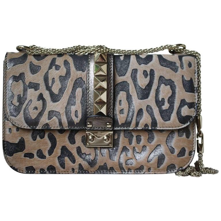 Valentino Glam Lock Rockstud Leopard-Print Crossbody Bag