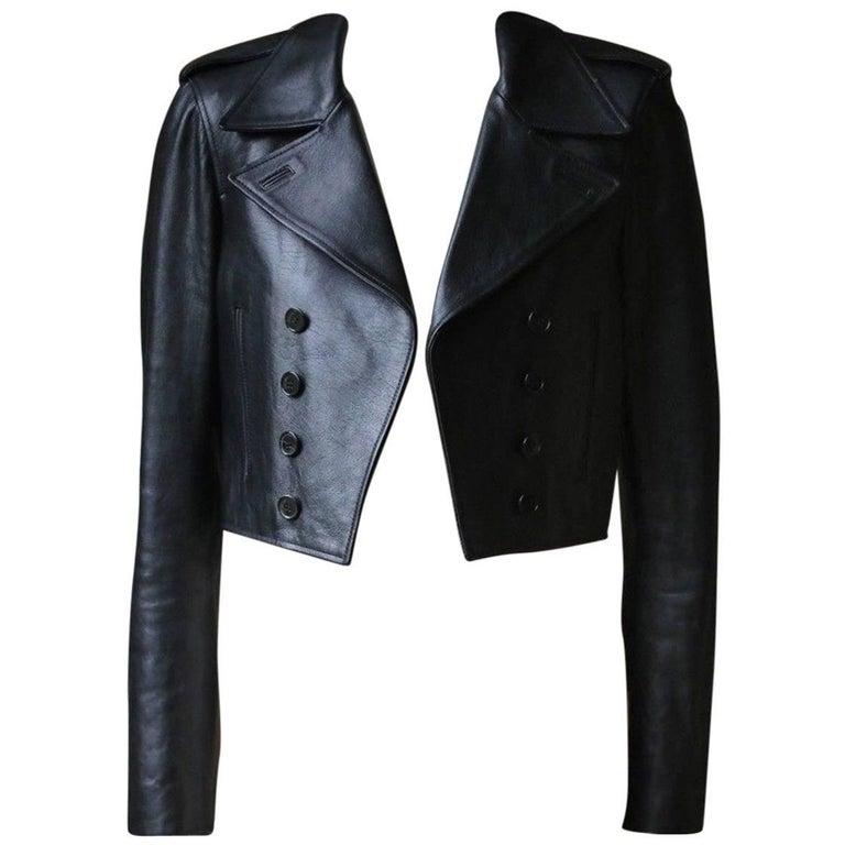 Saint Laurent cropped leather jacket, 2010s, offered by Nikki Bradford