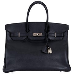 Hermes Birkin 35 Black Epsom Palladium Bag