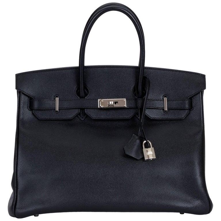 Hermes Birkin 35 Black Epsom Palladium Bag