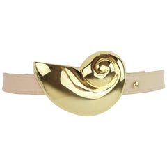 C.1980 Alexis Kirk Nautilus Shell Gold Tone Buckle With Belt
