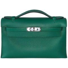 Hermes Bag Kelly Mini Pochette Vert Vertigo Evercolor Palladium Hardware