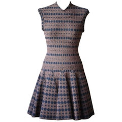 Azzedine Alaia Bronze and Navy Dotted Dress