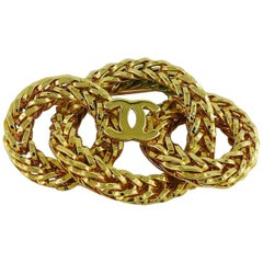 Chanel Vintage 1980s Gold Toned Chain Rings with CC Brooch