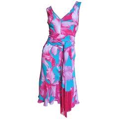 Celine Flower Print Silk Dress with Fringe Tie