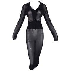 S/S 1995 Dolce & Gabbana Pin-Up Sheer Black Mesh Jacket Long Skirt & Mini Set
