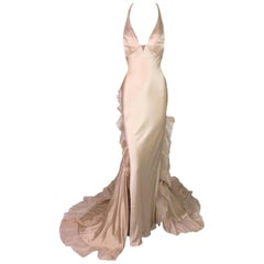 Giorgio Armani Prive Haute Couture Plunging Nude Column Gown Dress, Early 2000s