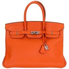 Hermes Birkin 35 Feu Clemence Palladium Bag