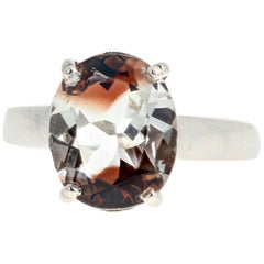Unique 5 Carat Two-Color Topaz Sterling Silver Ring