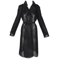 Dolce & Gabbana Black Sheer Fishnet Mesh Trench Coat Long Jacket