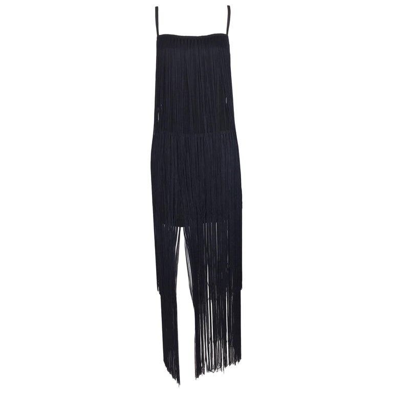 1993 Dolce And Gabbana Black Long Fringe Wiggle Pin Up Dress At 1stdibs