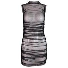Unworn 2000's Dolce & Gabbana Sheer Black Mesh Fishnet Ruched Mini Dress