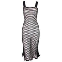2001 Jean Paul Gaultier Sheer Black & Brown Fishnet Wiggle Dress