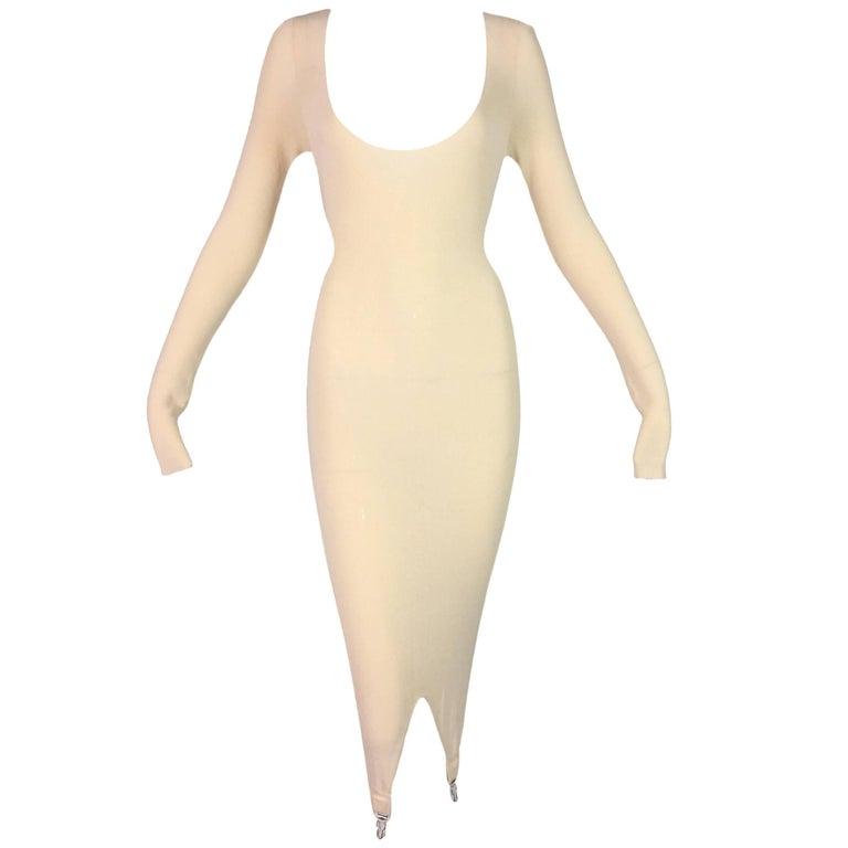 NWT 2000's Jean Paul Gaultier Sheer Cream Knit Plunging Wiggle Garter Belt Dress