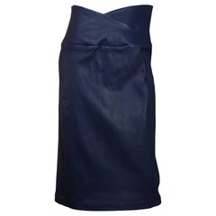 Zero + Maria Cornejo Navy Leather Nebi Skirt Sz 10 NWT