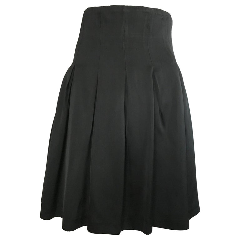 Patrick Kelly Paris 1980s Black Pleated Skirt Size 6.