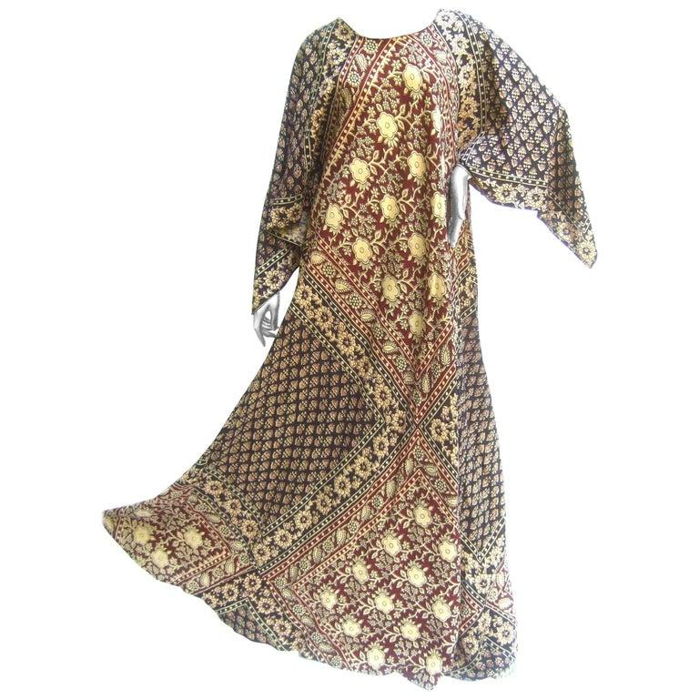 Exotic Bohemian Cotton Print Festival Caftan Gown circa 1970s