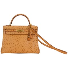Hermes Rare Kelly 32 Natural Ostrich Bag